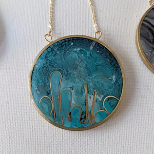 Water Lilies Medallion Necklace