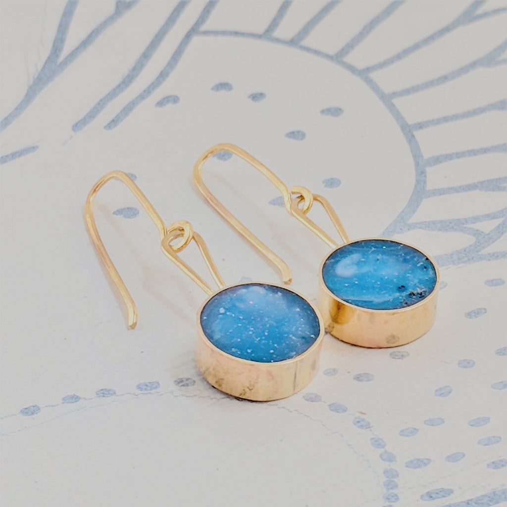 Blue Skies Circular Brass and Resin Dangling Earrings