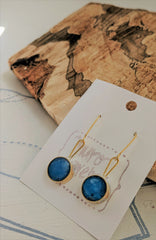 Blue Starry Sky Circular Brass and Resin Dangling Earrings