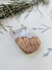 """A Clear Day In The Smoky's"" Wood and Resin Necklace"