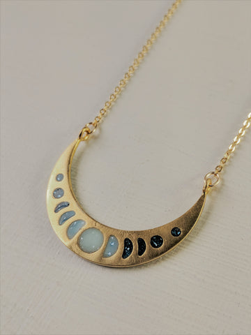 """Mystical Moon Phases"" Brass and Resin Necklace"