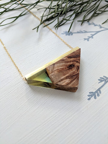 """A Touch Of Green"" Wood And Resin Pendant"