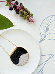 Semi-Circular Moonscape Necklace with Gold Plated Chain