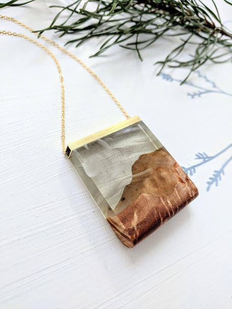 Appalachian Mountains Wood And Resin Pendant