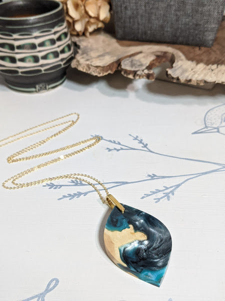 Blue Peninsula Wood and Resin Necklace