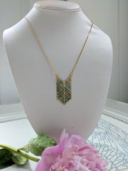 Brass Chevron Pendant with Blue Resin
