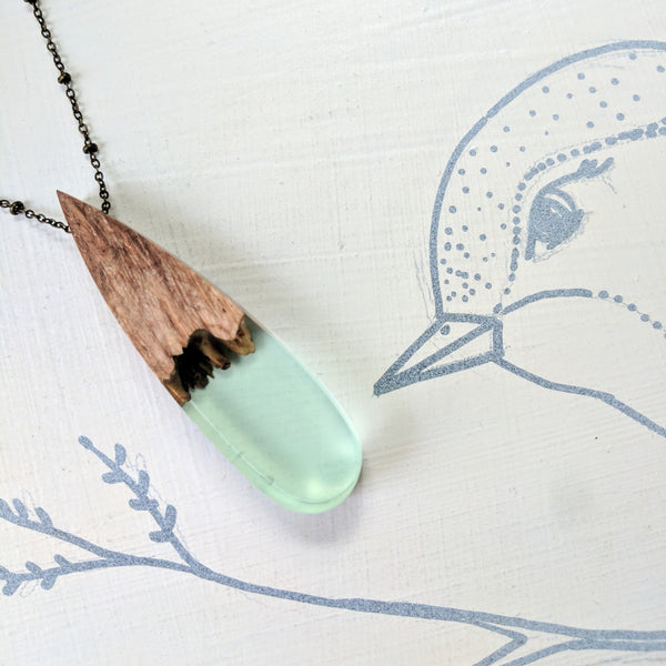 Wood and Resin Sea Foam Colored Teardrop Necklace