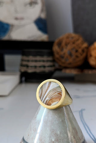 Desert Tracks Circle Brass and Eco-resin Ring