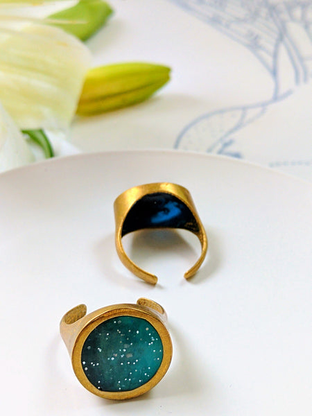 Adjustable Brass and Blue Resin Ring
