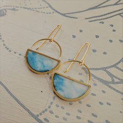 Clearing Sky Blue and White Half Moon Dangling Earrings