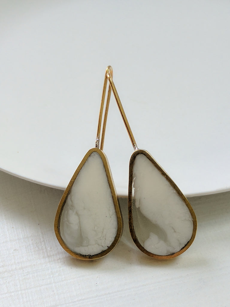 Cloud Teardrop Resin and Brass Earrings