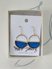 Cobalt Blue Half Moon Dangle Earrings