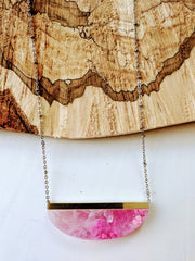 Summer Cotton Candy Swirling Pink and White Resin Necklace