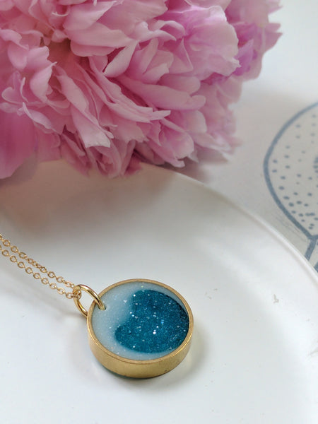 Deep Sea Resin and Brass Pendant