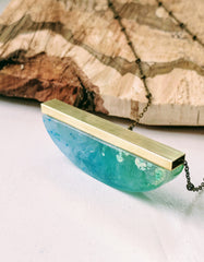 Swirling Hues of Blue and Green Resin and Brass Necklace