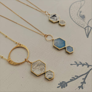 Marbled Double Hexagon Necklaces