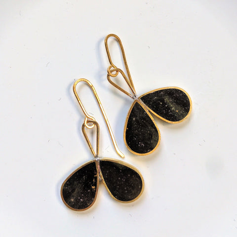 Double Drop Obsidian Colored Earrings