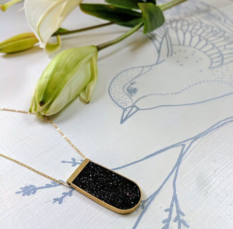 Starry Night Brass and Resin Necklace