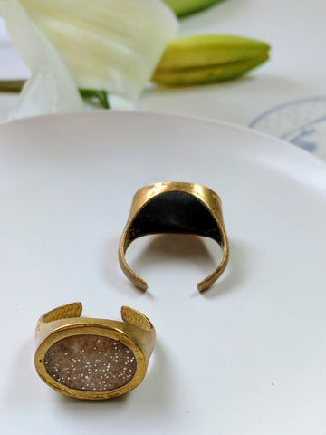 Adjustable Brass and Gold Resin Ring