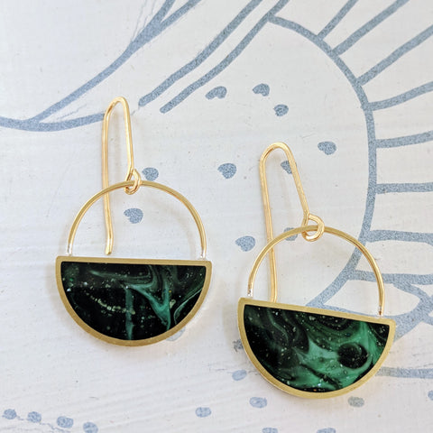 Green Marble Half-Moon Dangling Earrings