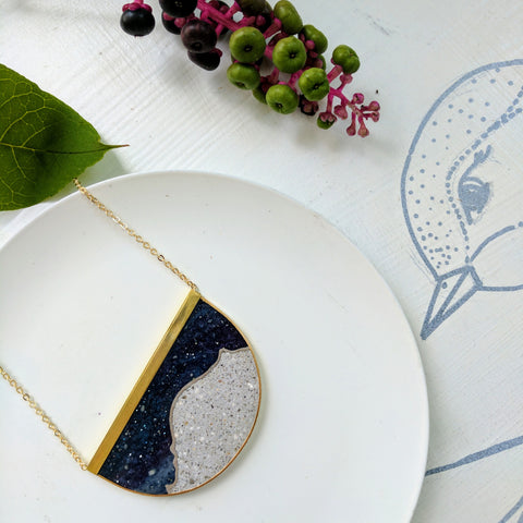 Half Circle Moonscape Necklace with Gold Plated Chain