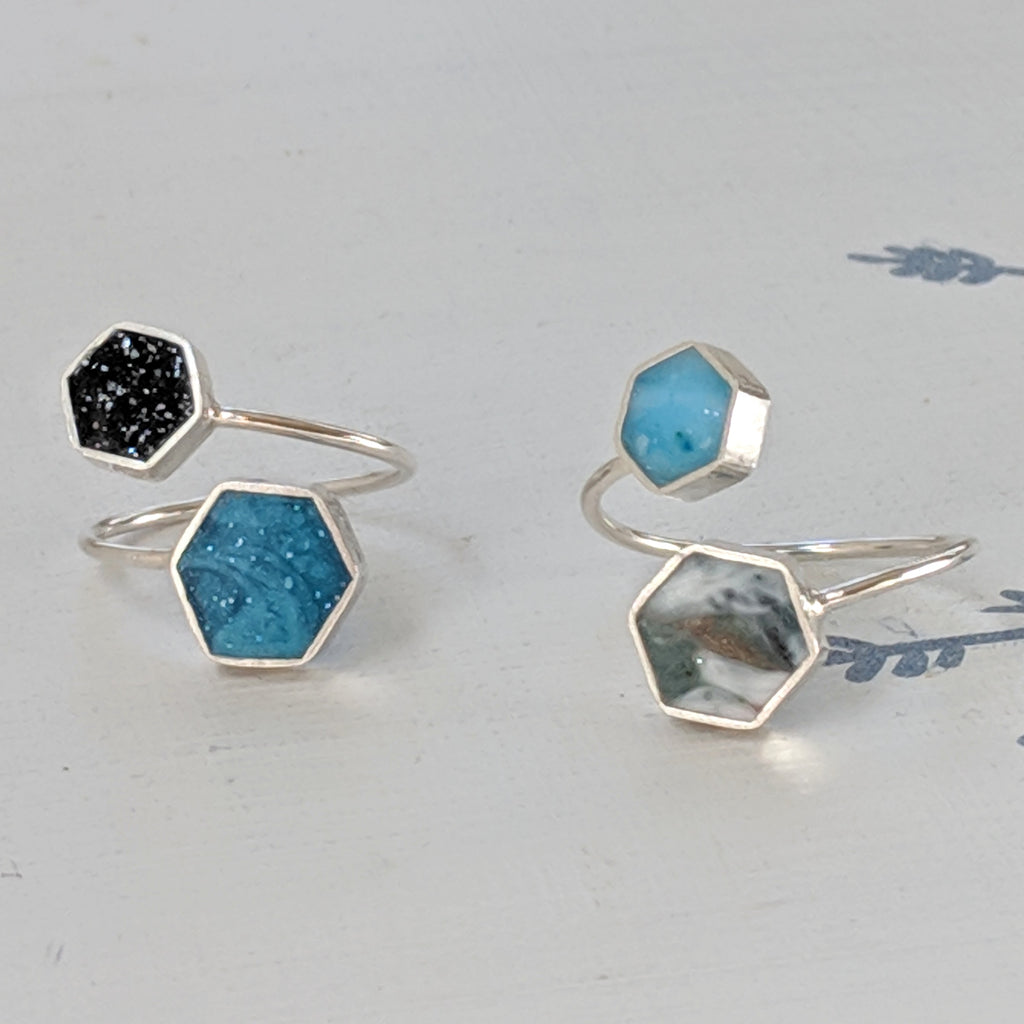 Hexagon Sterling Silver Adjustable Ring
