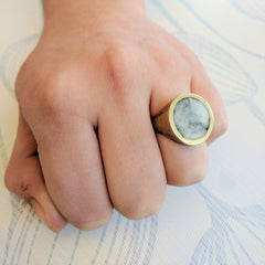 Brass Ring with hand pigmented resin, marble effect