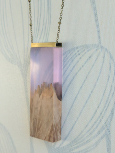 Amethyst resin and wood necklace, brass bar, antique brass chain