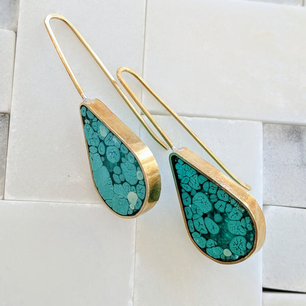 Teal Coral Landscape Drop Earrings