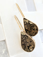 Brown Coral Landscape Drop Earrings