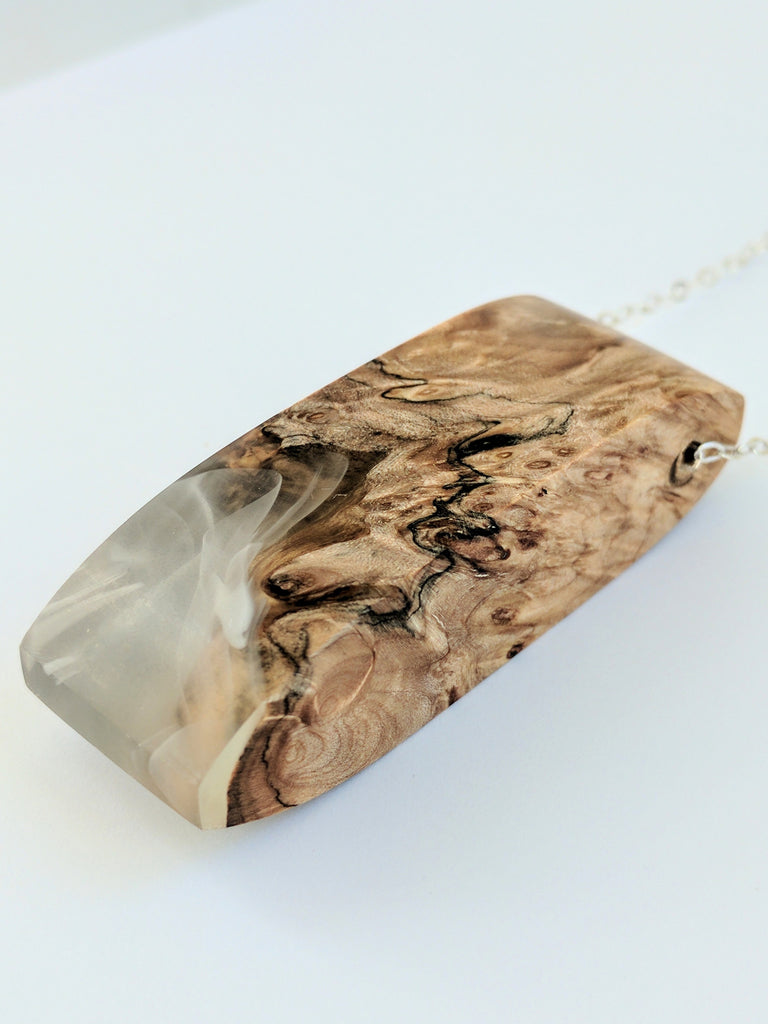 Long Wood and Resin Pendant/Necklace