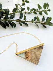 Triangular Wood and Resin Pendant/Necklace, Brass Bar