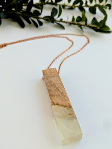 Wood and White Resin Necklace