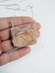 Wood and Resin Cloud Landscape with Silver Chain