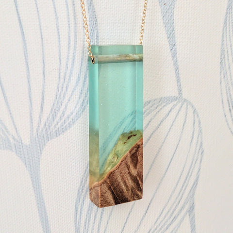 Wood and Resin Pendant- Sea Foam Resin