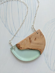 Wood and Resin Pendant- Half Moon Sea Foam Green