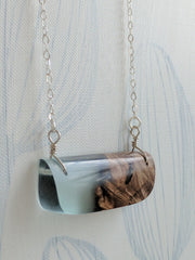 Horizontal Wood and Resin Pendant- Blue Resin