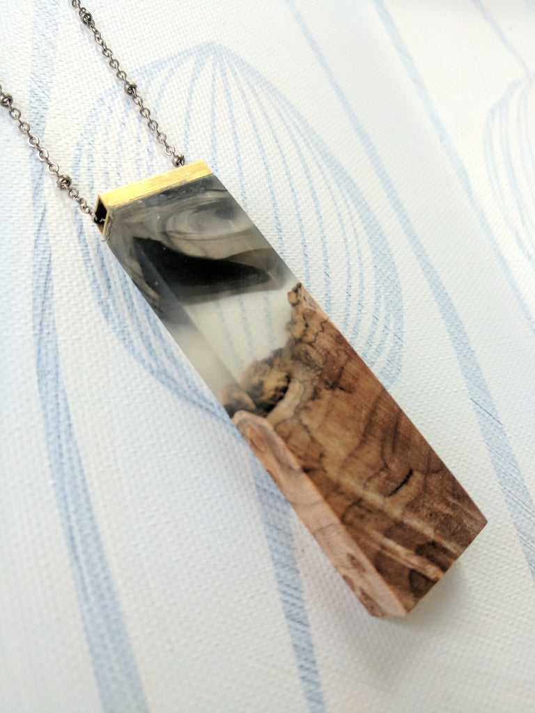 Wood and Resin Pendant- Brass Bar, Black and Clear Resin