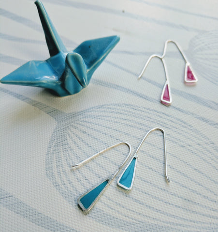 Silver Earrings with Colored Resin Triangle