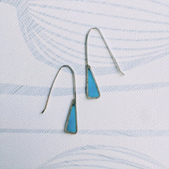Silver Earrings with a Triangle of Colored Resin