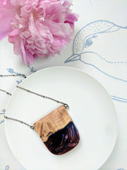 Wood and Resin Necklace. Blue-Red-Purple