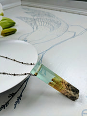 Wood and Sea Foam Resin Necklace with Brass Rod