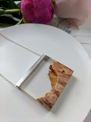 Wood And Resin Mountain Landscape with Silver Bar and Chain