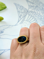 Blue Oval Brass Ring