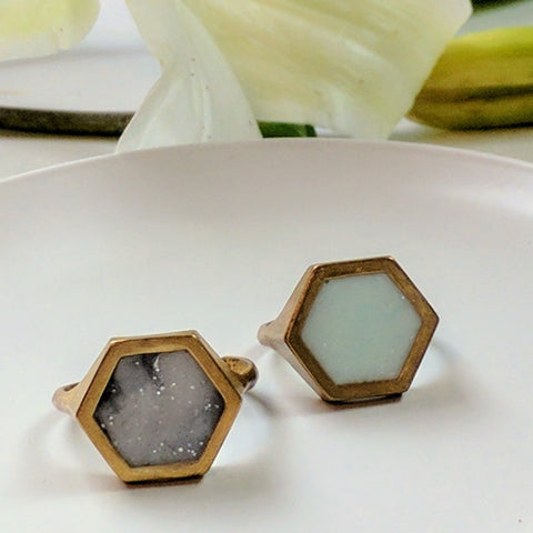 Hexagon Brass Ring with Marbled Resin