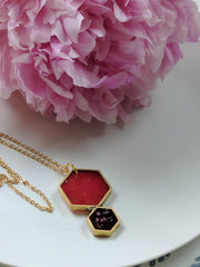 Double Hexagon Brass Necklace with Gold Plated Chain