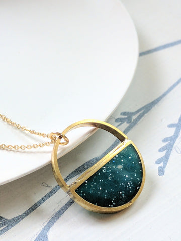 Resin and brass half circle necklace