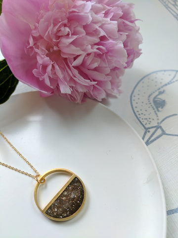 Resin and Brass half circle necklace.