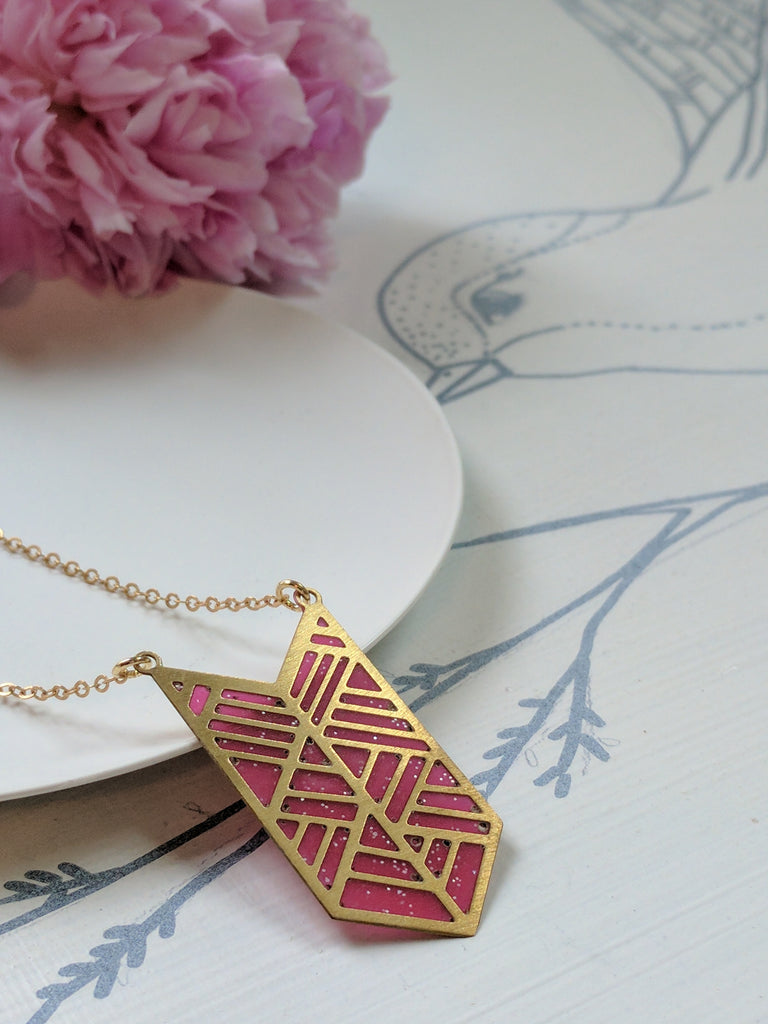 Brass Chevron Pendant with Pink Resin