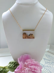 Wood and Resin Landscape Necklace, long gold plated chain